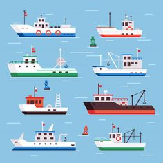 Buy Flat Fishing Boats by tartila on GraphicRiver. Commercial fishery ships, seafood industry ship and marine fisher boat in harbor on water, fish s. Ocean Fishing Boats, Fishing Boats For Sale, Small Fishing Boats, Fishing 101, Kayak Fishing, Sea Fishing, Trout Fishing, Fishing Shirts, Boat Drawing Simple