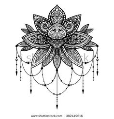 Vector Black And White Tattoo Lotus Illustration - 382449616 ...
