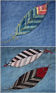 embroidered applique feathers.