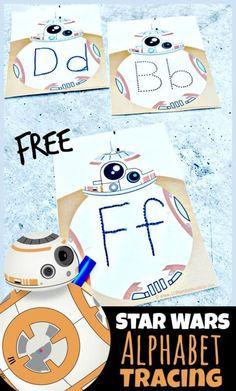 FREE Star Wars Alphabet Tracing - Make practicing tracing alphabet letters with with fun, free printable Star Wars Alphabet Tracing activity for toddler, preschool, pre k, kindergarten, and first grade students!