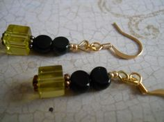 Olive Pale Rustic Green Copper Earrings Ink Black by chicagolandia, $11.50
