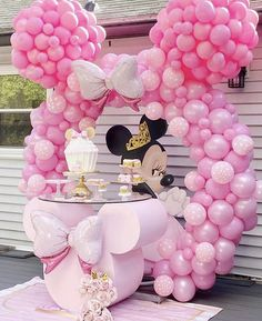 Minnie Mouse Balloons, Minnie Mouse Theme Party, Minnie Mouse Baby Shower, Baby Girl Birthday Theme, Girl Birthday Decorations, Balloon Decorations, Baby Shower Balloons, Birthday Balloons, Birthday Parties