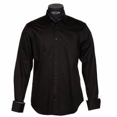 Chemise homme Jean Chatel en coton noir à poignets napolitains gris perle
