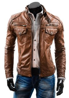 It is a leather jacket its color is brown It has six bolasas in the neck portion has a strip