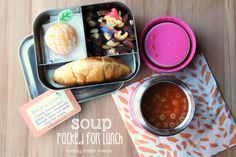 Soup for lunch! Here I have mini croissant, orange, trail mix a thermos of soup.  Packed in a Lunchbot Trio.
