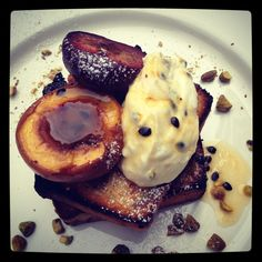 Crispy banana and coconut bread. Passionfruit labne and stone fruit. Courtesy of 'two birds one stone'
