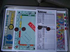 Travel games! DIY - laminate printed boards from Internet and use magnets! Laminate and reuse Yahtzee sheets!
