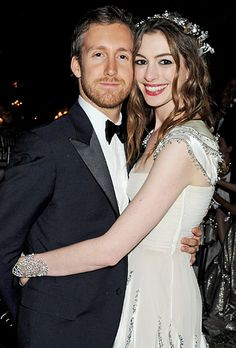 Anne Hathaway and Adam Shulman.  The Les Miserables star and the jeweler tied the knot Sept. 29 in a sunset ceremony in Big Sur, Calif. Sept. 29 2012. Hathaway wore a custom Valentino dress.