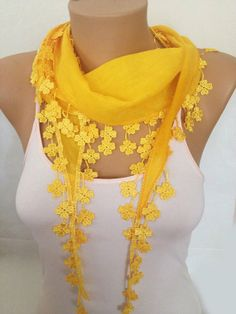ON SALE - Yellow Lace Scarf - Daisy Lace Scarf - Yellow Cotton Scarf - Wedding accessories - Bridesmaid Gift - Woman Fashion  Accessories