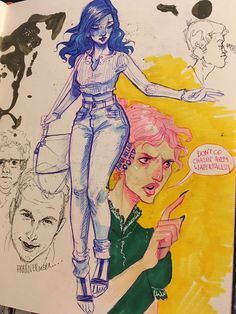Audra Auclair акварель набросок эскиз скетч карандаш синяя ручка