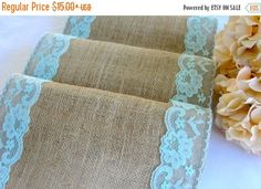 ON SALE Wedding Table runner Turquoise pastel by HotCocoaDesign