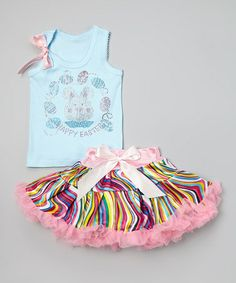 This Blue & Pink Bunny Tank & Pettiskirt - Infant, Toddler & Girls by Beary Basics is perfect! #zulilyfinds