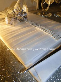Wedding Decorations - Wedding Guest Book with Rhinestone Accents