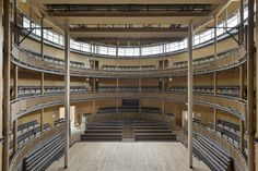 "archatlas: "" Hardelot Theatre in France The Hardelot Theatre by Studio Andrew Todd is a Elizabethan theater made almost entirely of wood (except the basement level), the cross-laminated. Theater Architecture, Timber Architecture, Cabinet D Architecture, Architecture Awards, Elizabethan Theatre, Larch Cladding, Auditorium Design, Cladding Materials, Bamboo Poles"