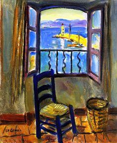 Charles Camoin - The Studio Window at Saint-Tropez. c1956-1957