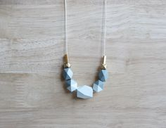 pastel wooden geometric necklace // ice blue by BelleAccessoires