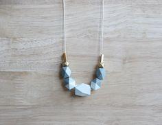pastel wooden geometric necklace // ice blue by BelleAccessoires