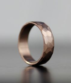 His or hers simple 6mm hand-faceted rose gold wedding band Also available in various metals - sterling palladium, 950 palladium, 14K gold, platinum or