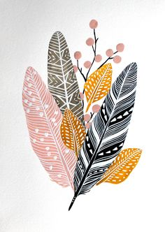 Feathers and stones painted by Marisa Redondo aka River Luna #illustration