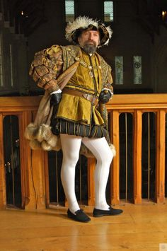Re-enactor as the French Ambassador in the Great Hall for the Christmas 1541 event at Stirling Castle.