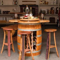 Napa East Wine Barrel 5 Piece Counter Height Table Set with Open Wine Rack Base - Wine Furniture at Hayneedle Kitchen Dining Sets, 5 Piece Dining Set, Dining Room Sets, Kitchen Ideas, Kitchen Decor, Dining Table, Whiskey Barrel Furniture, Wine Barrel Furniture, Wine Barrel Bar Stools