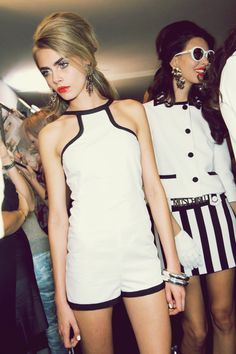white and black rompers - Cara Delevingne #fashion #models