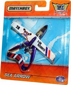 """SEA ARROW * MBX RESORTS * Die-Cast Airplane MATCHBOX Sky Busters Missions Series by Mattel. $7.66. SEA ARROW * MBX RESORTS * Die-Cast Airplane MATCHBOX Sky Busters Missions Series. Ages 3+. From Mattel. Vehicle measures approximately 4 inches long.. SEA ARROW - Take off by land or by sea on a go-anywhere adventure in this nimble floatplane. Sea Arrow has a """"pusher"""" propeller that scoots it through the air with remarkable speed!   MATCHBOX SKY BUSTERS: The Sky Bu..."""