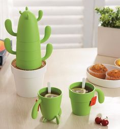 Mug and Spoon Set of 4 Cactus Shape