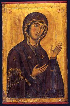Maria Theotokos, c. Byzantine Hagiosoritissa icon in Mt. Byzantine Art, Byzantine Icons, Religious Icons, Religious Art, Russian Icons, Art Icon, Medieval Art, Orthodox Icons, Blessed Mother