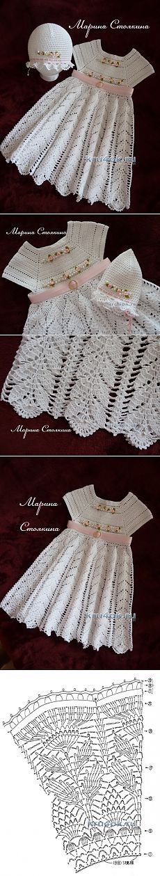 """[ """"Dress and cap for girls - the work of Marina Stoyakin - Crochet at"""", """"Find and save knitting and crochet schemas, simple recipes, and other ideas collected with love. Crochet Dress Girl, Baby Girl Crochet, Crochet Baby Clothes, Baby Patterns, Knitting Patterns, Crochet Patterns, Crochet Toddler, Crochet For Kids, Crochet Stitches"""