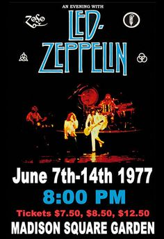 Gatsbe Exchange LED Zeppelin Madison Sq Garden Musician Concert Poster Rock and Roll Legends Live Forever 12 X 18 Led Zeppelin Poster, Led Zeppelin Concert, Hard Rock, Tour Posters, Band Posters, Robert Plant, Jimmy Page, Pop Rocks, Beatles