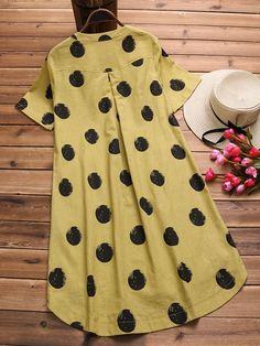 Gracila Irregular Polka Dot Print Short Sleeve O-neck Vintage Dresses is high-quality, see other cheap summer dresses on NewChic Mobile. Cheap Summer Dresses, Stylish Dresses, Fashion Dresses, Robes Vintage, Vintage Dresses, Kurti Neck Designs, Designs For Dresses, Vestidos Vintage, Linen Dresses