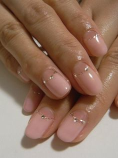 Simple nail #lame #stone #light pink
