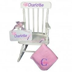 Personalized rocking chair sized just right. This baby gift set includes child's rocker, monogrammed blanket and personalized wall plaque. Door Knobs, Door Hangers, Childrens Rocking Chairs, This Little Piggy, Piggy Bank, Bee, Bloom, Pink, Gifts