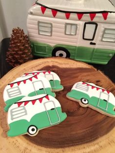 Mixin' Mom: Happy Camper Baby Shower Airstream Royal Icing Cookies