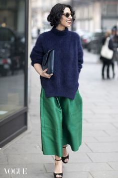 bold colors blue fuzzy sweater green pants