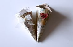 Romantic Shabby Chic Wedding Cones music notes with by IlasPaper