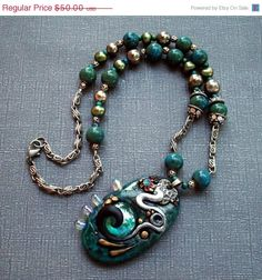 Half Off Clearance SALE Chunky Polymer Clay Pendant Beaded Necklace