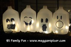 Milk Jug Ghosts - project cost $0 See these and more family friendly ideas for $5 or less at www.megganspicer.com & www.facebook.com/megganspicer