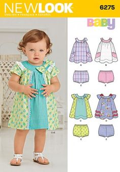 Inspirational 6275 New Look Pattern Babies Dress and Pants Baby Clothes Patterns Baby Dress Design, Baby Girl Dress Patterns, Baby Clothes Patterns, Clothing Patterns, Skirt Patterns, Coat Patterns, Blouse Patterns, Baby Patterns, Baby Outfits
