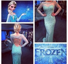 frozen, elsa, prom, dress, gown, blue, long, sleeveless: Where to get this style? - Wheretoget