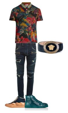 """Untitled #9"" by roderickwalton on Polyvore featuring Valentino, Balmain, Maison Margiela, Christian Louboutin, Versace, men's fashion and menswear"