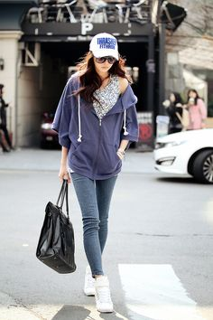 Purple hoodie and jeans Korean style. -Lily