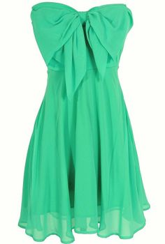 Oversized Bow Chiffon Dress in Jade.