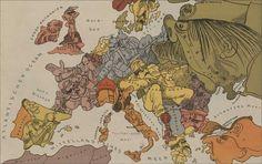 WWI map of Europe cartoon satire