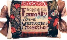 """This Tie One On design says """"happiness, Family, laugh, Love, Memories, together.""""  The complete kit contains pre-sewn 11-count 8"""" x 8"""" #pillow #sham with organza ties, DMC floss, needle and complete instructions.  Stitch count is 40 x  40.  Fabrics may vary from what is shown.    #needlework #cross-stitch #xstitch #stitching #embroidery"""