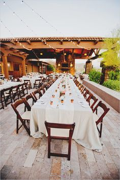 Ritz Carlton Tucson Arizona outdoor reception with family style seating. Captured By: Elyse Hall Photography ---> http://www.weddingchicks.com/2014/06/02/desert-wedding/