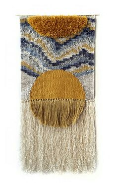 SALE Aten Tapestry Wall hanging tapestry woven by HeddleAndNeedleAten weaving by Rachel Gottesman of Heddle & Needle.Learn to Weave: Tips and Advice from Etsy Experts - Etsy JournalImpara a Weave: suggerimenti e consigli da Etsy EspertiBeginner weaving ti Weaving Textiles, Weaving Art, Weaving Patterns, Loom Weaving, Tapestry Weaving, Hand Weaving, Weaving Designs, Weaving Wall Hanging, Tapestry Wall Hanging