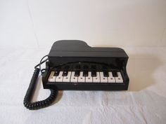 Piano Phone, Grand Piano Telephone, Vintage Telephone, Black Baby Grand , Land Line, Touch Tone, Musician Band Phone, Paino Keyboard Phone
