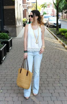 Oh So Glam: All About That Lace - Blank NYC Flare Jeans, Lace Trim Tank